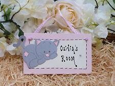 E62 personalizzata Ragazze Little KITTY CAT Bedroom Door compleanno regalo di Natale