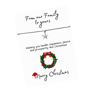 Christmas From our Family Verse Card - Christmas Charms - Wish Bracelet