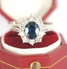 Wunderschöner Ring mit Safir und 0,50ct Brillanten aus 585/000 Weissgold  A1836