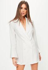 Missguided White Crepe Flared Sleeve Tux Jacket Dress Sizes 4 to 16