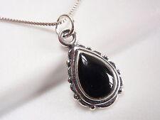 Black Onyx Teardrop Pendant 925 Sterling Silver Corona Sun Jewelry