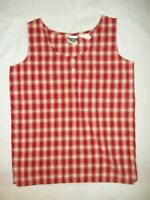Simply Basic Women's Tank Top Shirt Size S Sleeveless Red White Check Cotton EUC