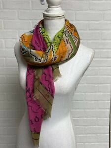 """ECHO Square Scarf Sarong Map of Gulf of Mexico 39"""" Square Tropical Vibrant!"""