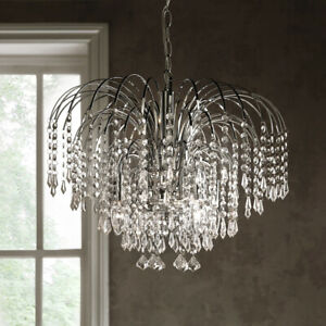 K LIVING 4 Light Chandelier Chrome Pendant with hanging Stunning Bead Droplets