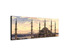 120x40cm Bild Leinwand blaue Moschee Islam Sonnenuntergang Istanbul Sinus Art