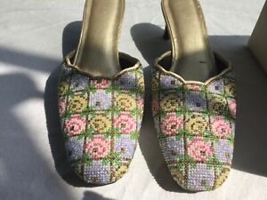 Mules Cuir doré brodé perles pastel T38 - Beaded embroidered leather mules 7