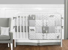 Sweet Jojo Gray White Deer 9pc Newborn Unisex Baby Crib Bedding Set Collection
