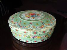 ViNTaGe Green Floral Tin Metal Cookie ~ Candy ~ Sewing ~ Button ~ Biscuit Box