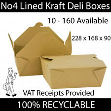 More details for brown no4 kraft cardboard lined deli boxes food box takeaway hot cold leakproof