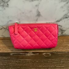 CHANEL 2016/17 Hot Pink Lambskin Quilted Cosmetic Bag Zipper Pouch Gold CC Logo