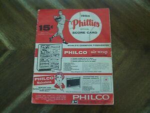 1960 Philadelphia Phillies vs Dodgers Official Program / Score card, Scored.