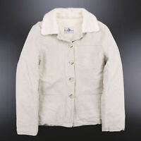 Vintage UNCLE SAM Faux Sherpa Lined Cream Fitted Jacket Womens Size Large