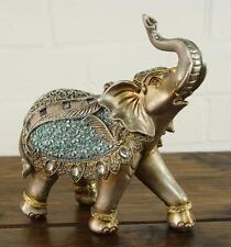 Steel Blue & Gold Lucky Elephant Ornament Gift Figurine '16cm' 55292