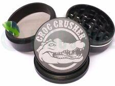Croc Crusher - 4 Piece Grinder for Herb & Tobacco - 3.5'' Size - Black