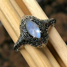 Art Deco Natural Rainbow Moonstone 925 Solid Sterling Silver Engagment Ring sz 9