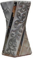 20cm White & Silver Glitter Ceramic Flower Vase Twisted Design