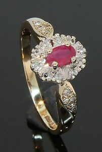 9 Carat Yellow Gold Ruby & Diamond Oval Cluster Ring Size Q 1/2 (80.21.326)