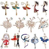 Fashion Rhinestone Ballet Gymnastics Girl Brooch Pin Collar Women Jewelry Party