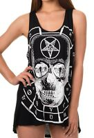 BANNED Pentagram Skull Vest Top T-Shirt Goth Punk Rock Black White UK 8 10 12 14
