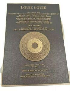 The Kingsmen Louie Louie cast bronze dedication plaque Vintage 14 x 20 Mint USA