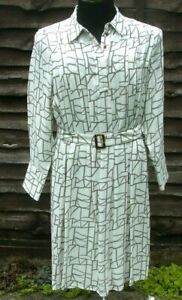 M&S Autograph White  Dress Long Sleeves  Pleated With Belt, Size 16