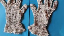 vintage gant crochet FIL beige@old glove