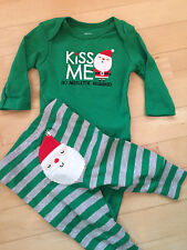 NEW Carters Boys Christmas Lot Outfit Green Bodysuit Shirt & Pants 0 3 Month
