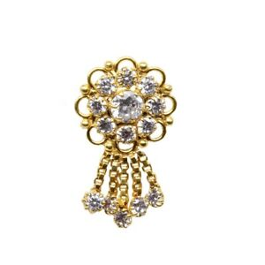 Indian White CZ Nose Stud,Clip on fake dangle nose piercing gold plated nose pin