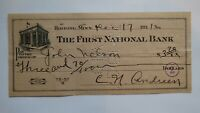 $3.70 1931 Hibbing Minnesota MN Cancelled Check! First National Bank