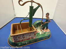 Tucher & Walther Village Pump Figure Wind-up Traditional Tin Toy Made In Germany