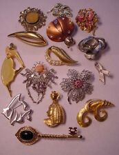 Vintage Estate Signed Pins Brooch Lot of 15 WoW