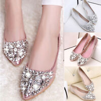 Women Pointed Toe Bling Rhinestones Low Heel Flat Shoes Lady Casual Single Shoes