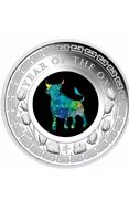 "2021 AUSTRALIAN OPAL ""LUNAR YEAR OF THE OX"" ~  1 Oz SILVER PROOF COIN COA."