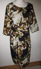 LADIES HOBBS BROWN BLACK GREEN 100% WOOL DRESS SIZE 12