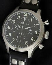 Ticino BF-109 Automatic Pilot Chronograph Watch sapphire crystal