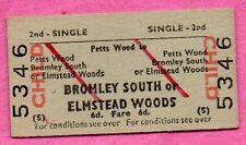 BRB (S) train ticket, PETTS WOOD > BROMLEY SOUTH etc. Ed card child single 1966.