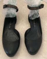 DEREK LAM Womens  Ankle Strap Flats Shoes Black Leather Sz 5 1/2