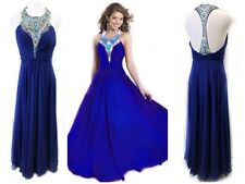 Blush Prom 8 Cobalt Blue Gown Jewel Collar Ruched Bodice Maxi Illusion Mesh $260