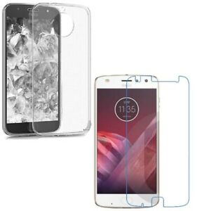 For MOTOROLA MOTO Z2 PLAY CLEAR CASE + TEMPERED GLASS SCREEN PROTECTOR COVER