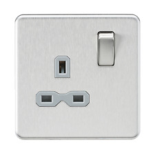 Knightsbridge Sfavr7000bcg 13 a 1g DP Brushed Chrome Screw Less Switched Socket