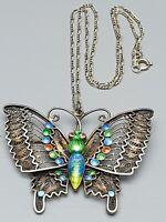 Großer 925 Silber Anhänger Schmetterling Email Filigranarbeit & 925 Silberkette