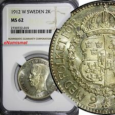 Sweden Gustaf V Silver 1912-W 2 Kronor Ngc Ms62 Top Graded ! Rare Key Date Km787