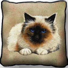 Birman Kitty Cat by Robert May Woven Art Tapestry Pillow 1950-P Made in Usa