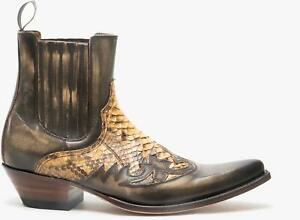 Sendra 9396 Mens Handmade Leather Pointed Western Cuban Heel Cowboy Boots Python