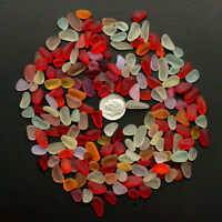 red yellow orange white sea beach glass small 50 pieces lots 8-12mm jewelry use