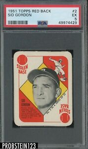 1951 Topps Red Back #2 Sid Gordon Boston Braves PSA 5 EX