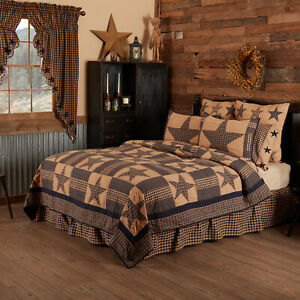 VHC Teton Star Navy Tan Quilted Patchwork Cotton Country Farmhouse King Quilt