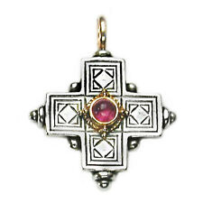 & Tourmaline - Byzantine Cross Pendant Gerochristo 5015 ~Solid 18K Gold, Silver