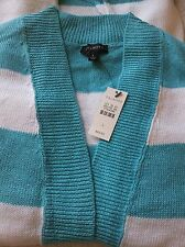 NWT SzL Open-Front 100%-Linen CARDIGAN by TALBOTS Turquoise & White Orig.$89.50!