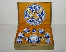 CHILDS Tea Set Japan Circa 1960s Blue Floral 9 Pieces EUC
